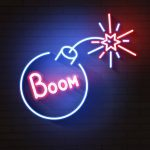 Bomb blue glowing neon icon. Glowing sign logo vector